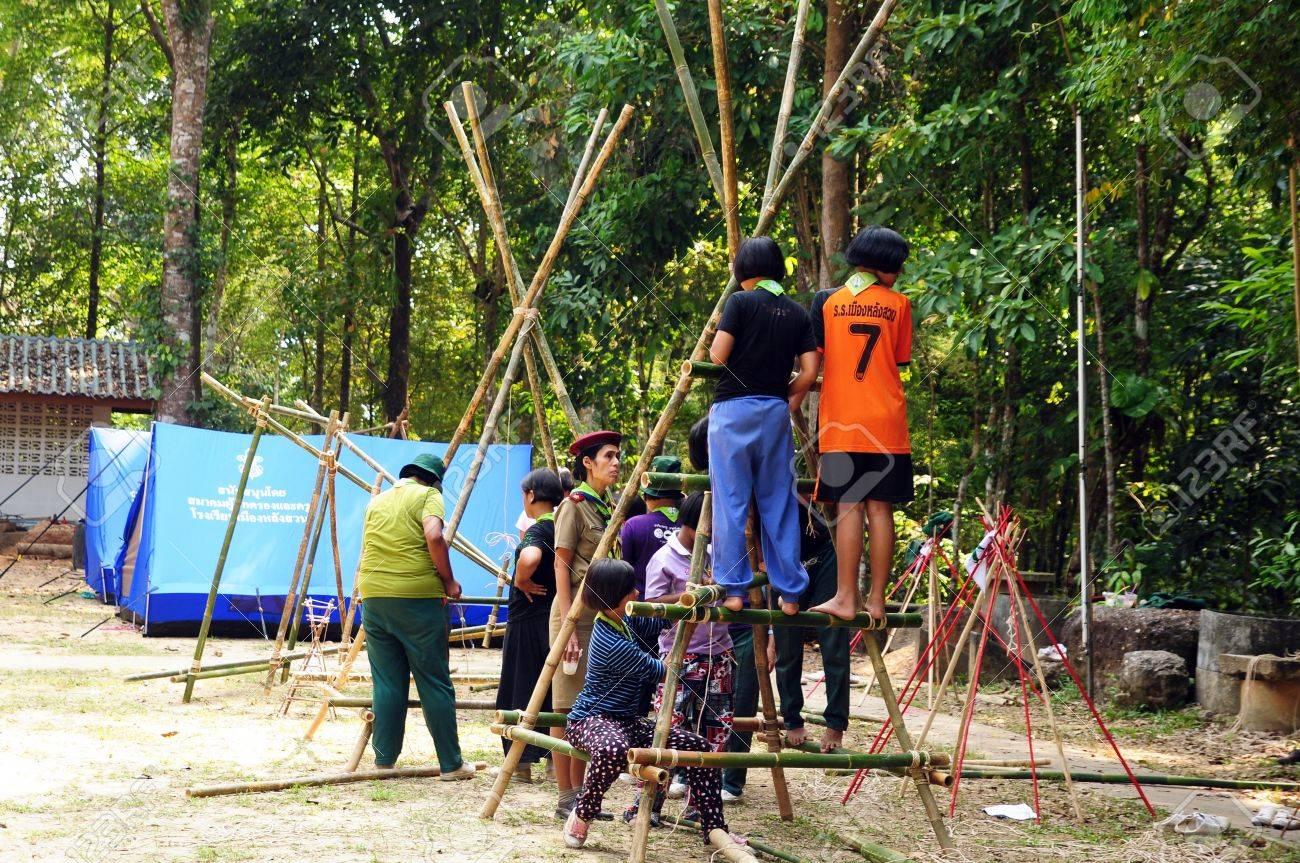 CHUMPHONTHAILAND February 15 17 Boy Scouts Of Muanglangsuan School Camping Activities Trip