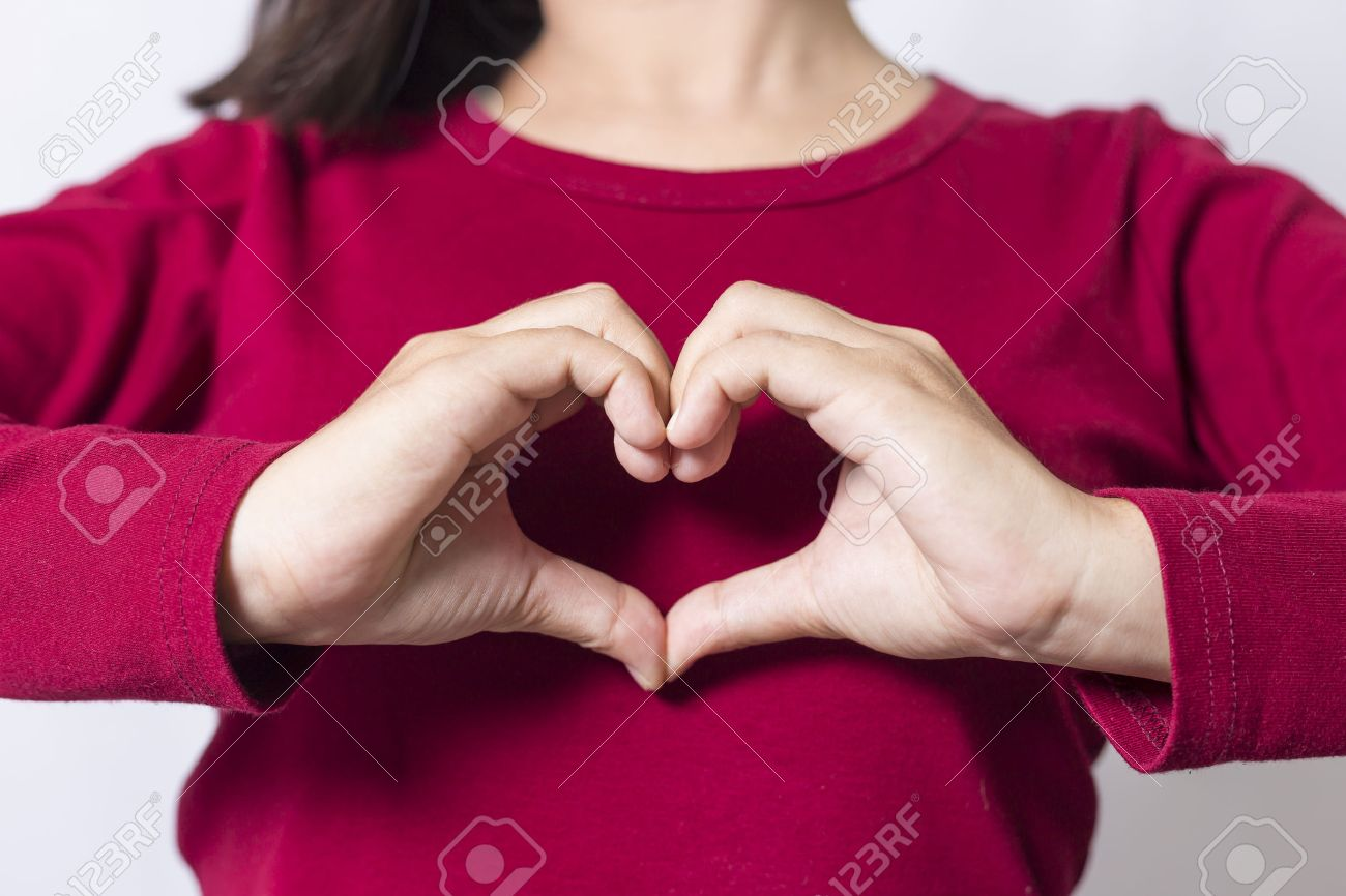 Woman Show Heart Hands Stock Photo, Picture And Royalty Free Image ...