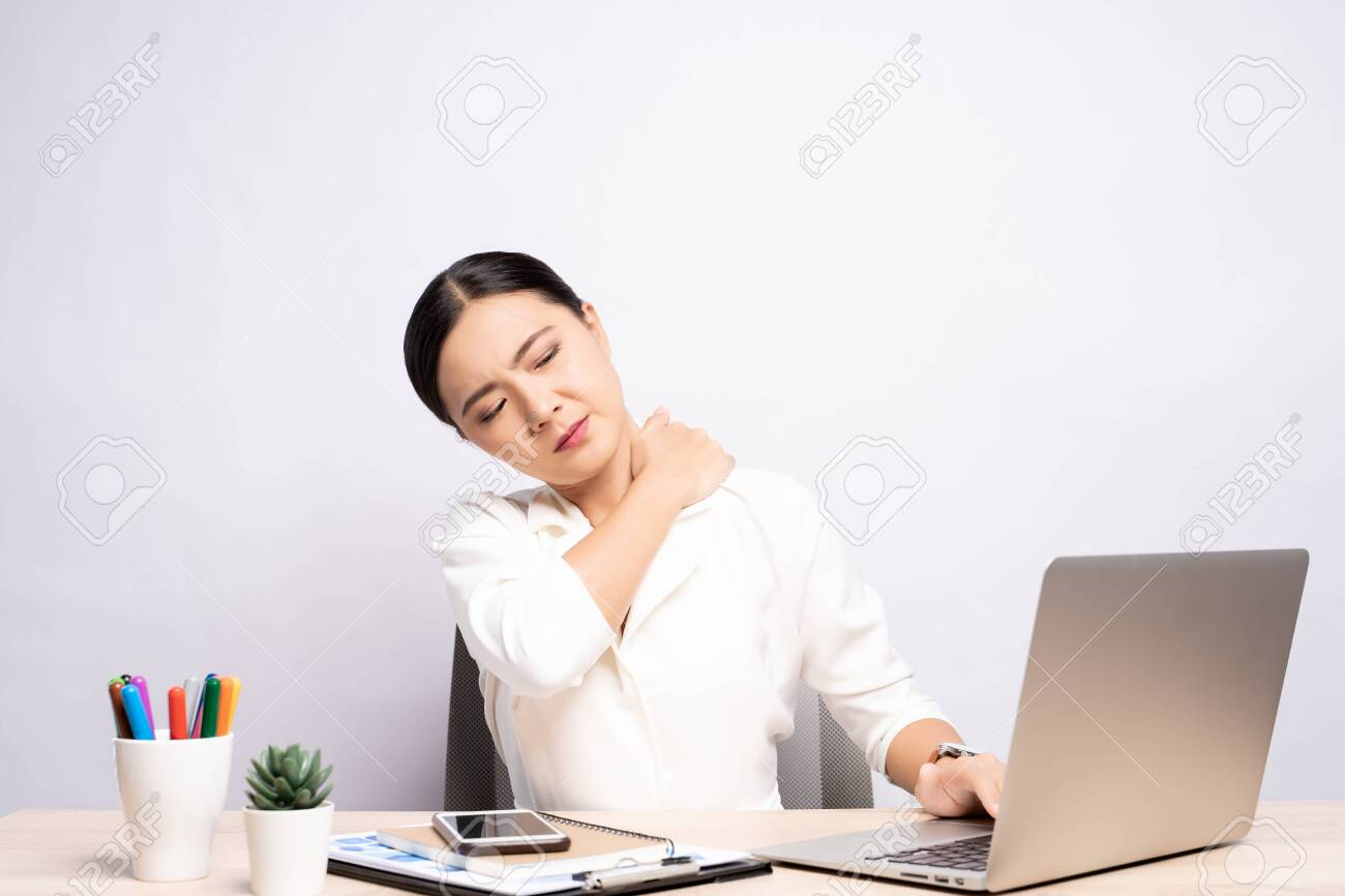 Woman has body pain isolated over white background: Office syndrome concept - 126089343