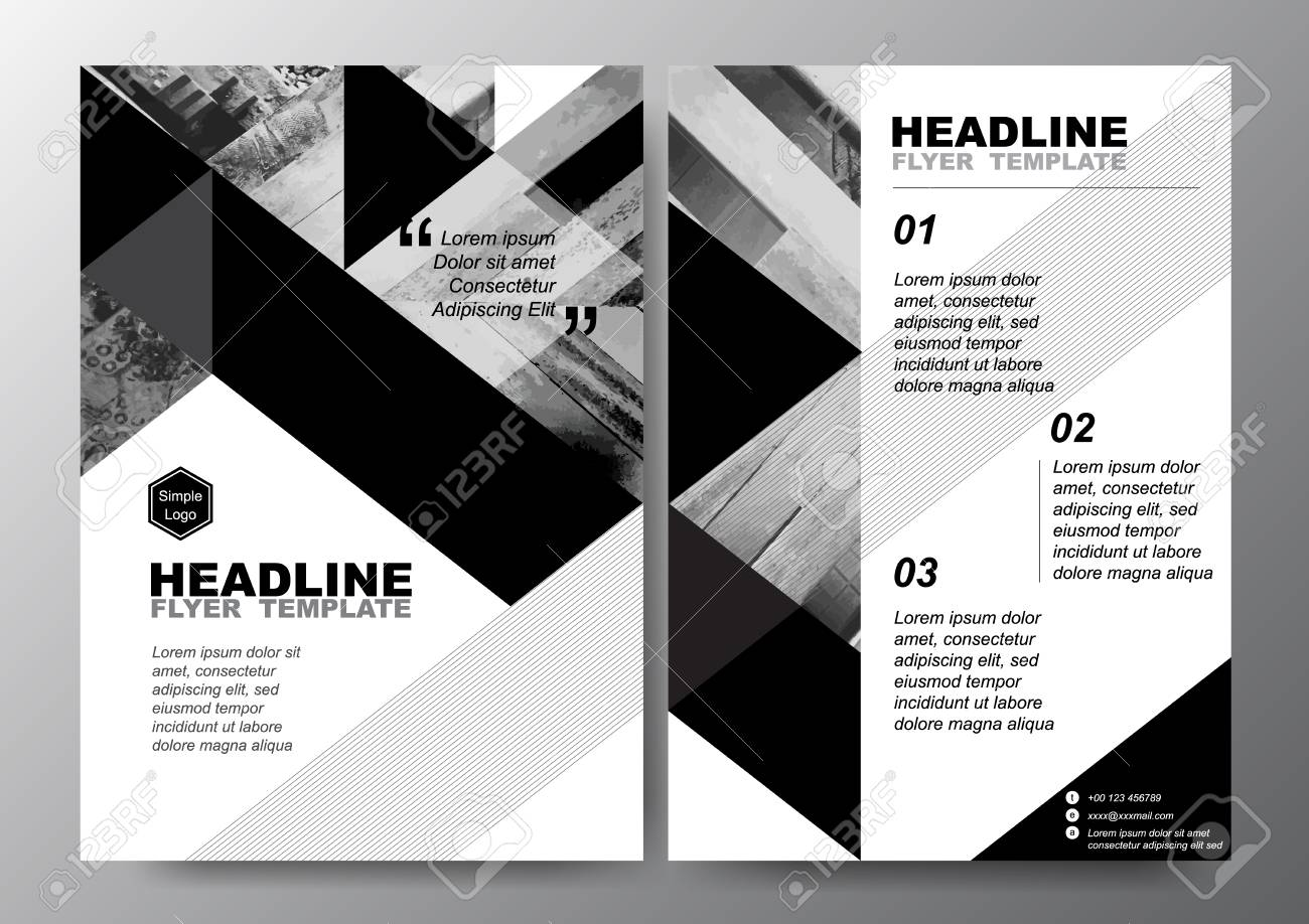 Abstract Black White Triangle Background For Minimal Poster Brochure - Black and white flyer template free