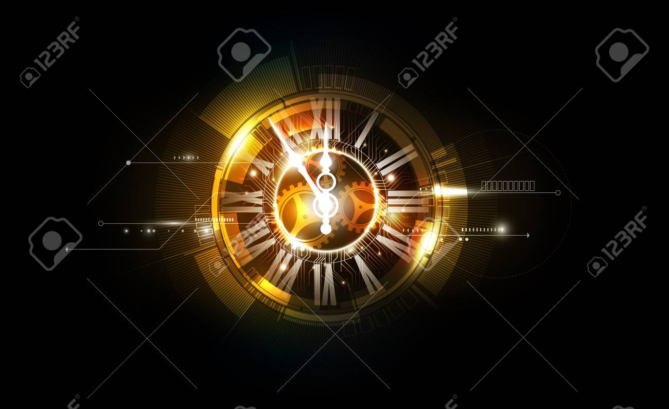 Abstract Futuristic Technology Background with Clock concept and Time Machine, vector illustration - 93008241