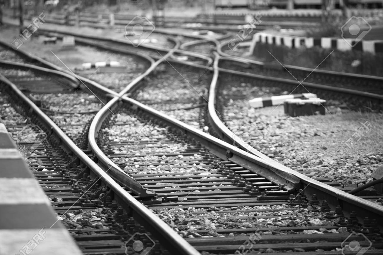 Railway tracks in front of the station. Stock Photo - 17209633