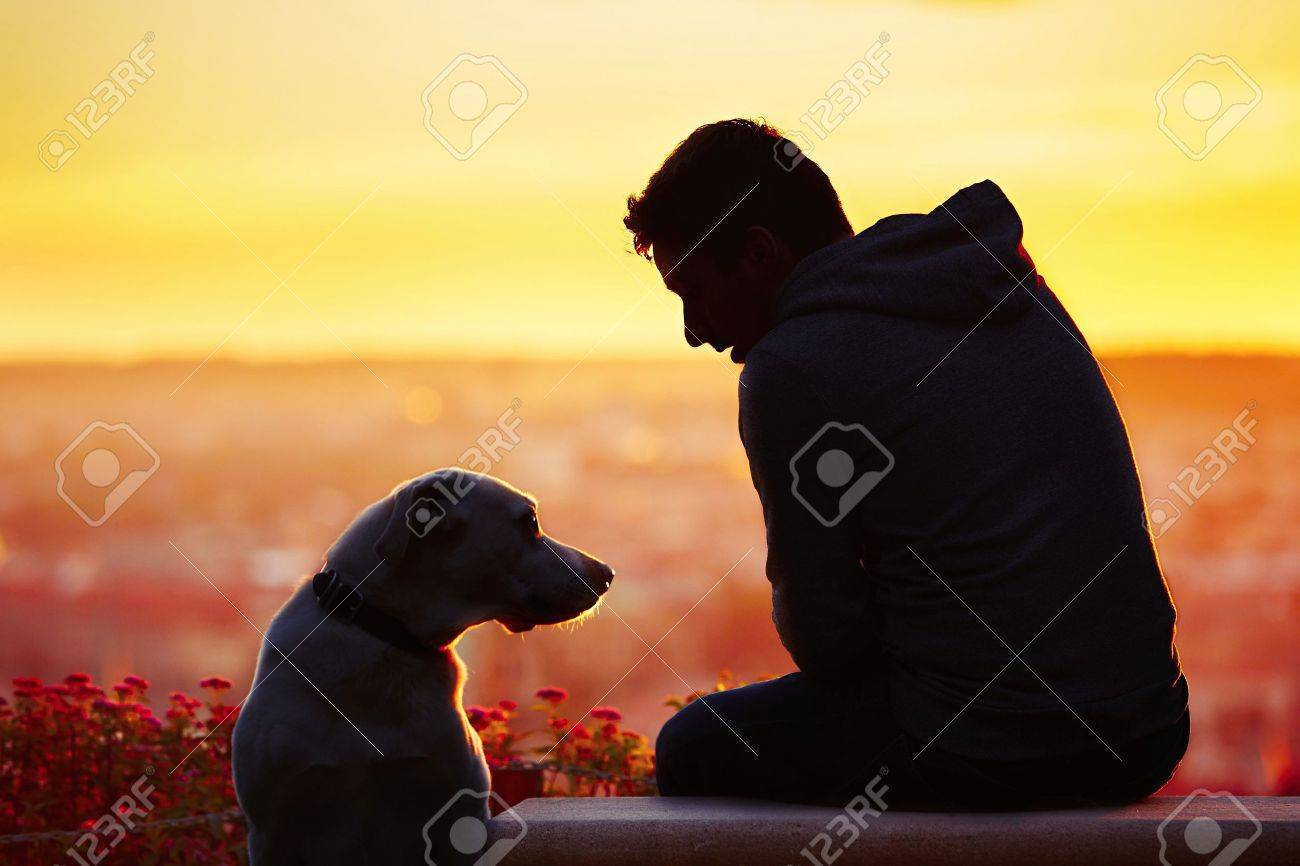 Young man with his dog at the sunrise. Standard-Bild - 45779080