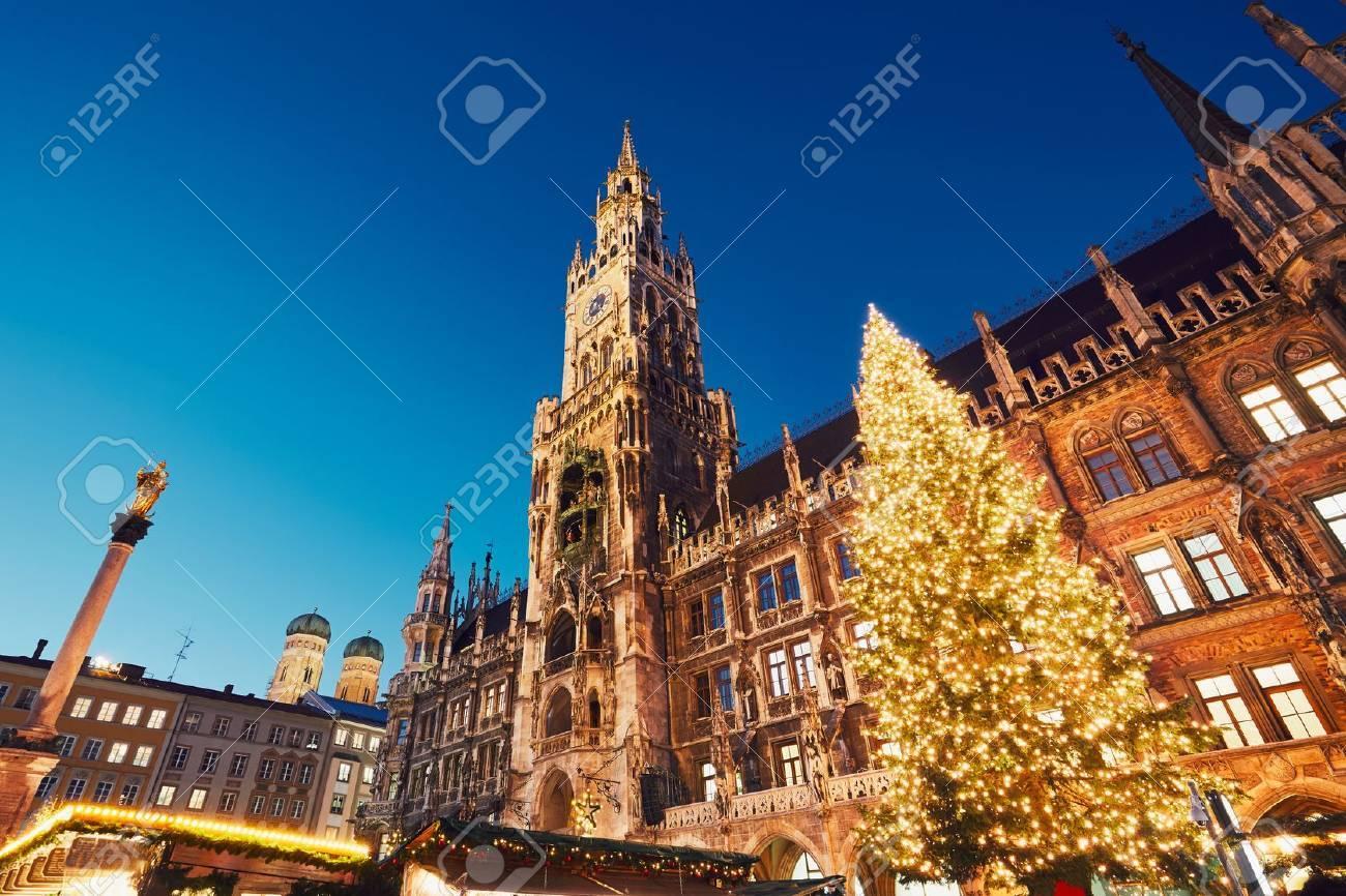Munich Germany Christmas.Marienplatz With The Christmas Market In Munich Germany
