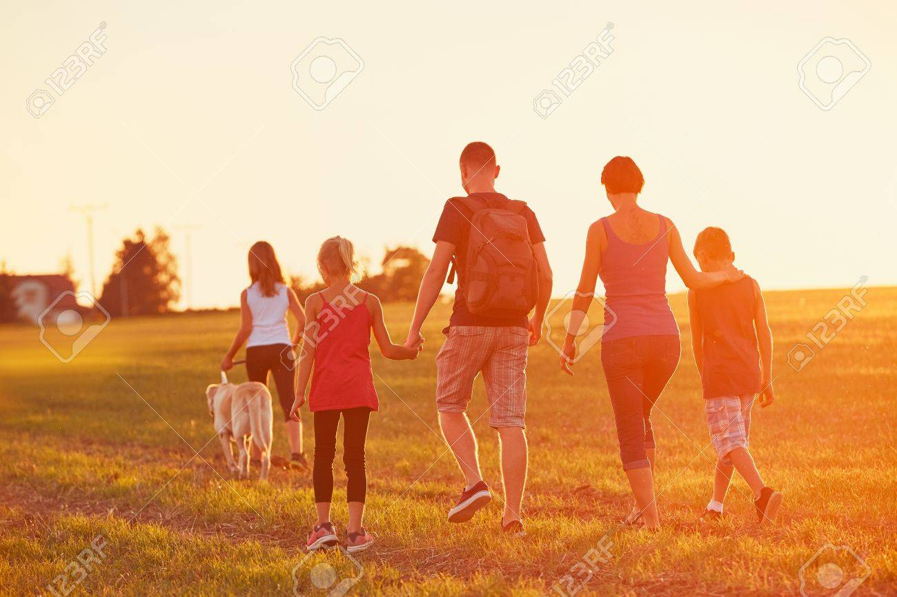 Summertime in the countryside. Silhouettes of the family with dog on the trip at the sunset. - 85133985