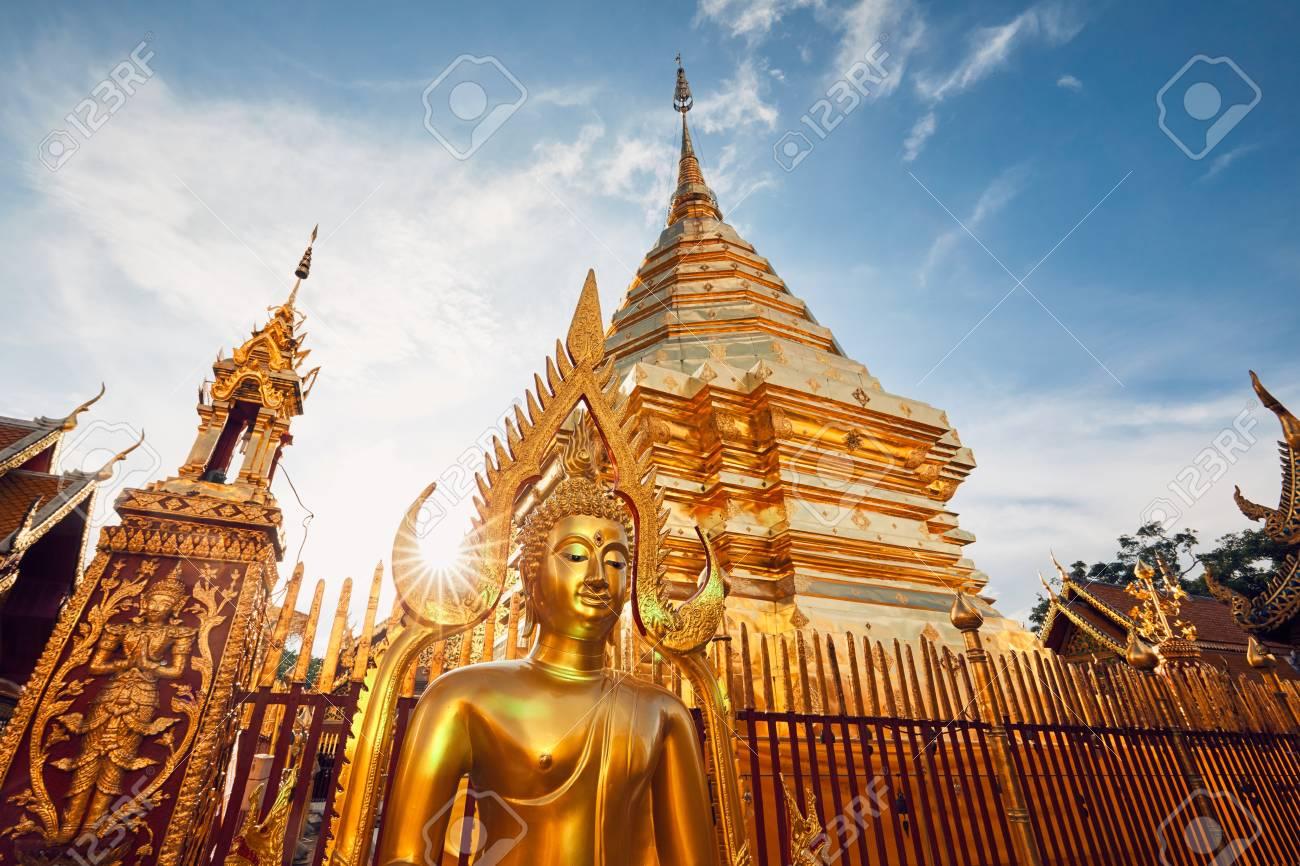 Buddhist Wat Phra That Doi Suthep Temple at the sunset. Tourists favorite landmark in Chiang Mai, Thailand. - 91308688