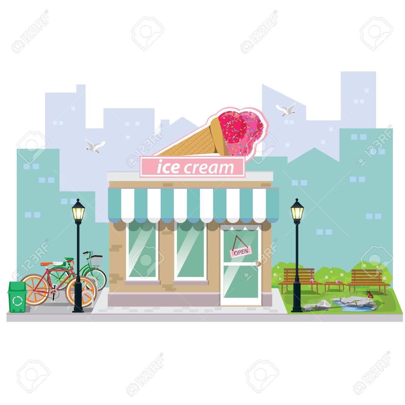 イラスト。アイスクリームと店建物のファサード。 ロイヤリティフリー