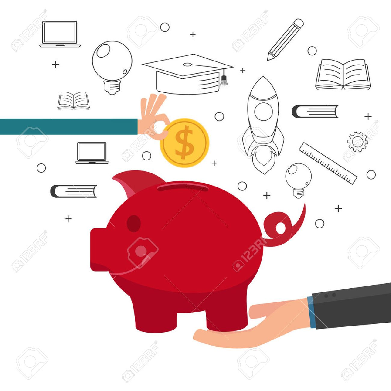 Family teaching child to save money and financial planning for future. Cartoon vector Illustration. - 45660816