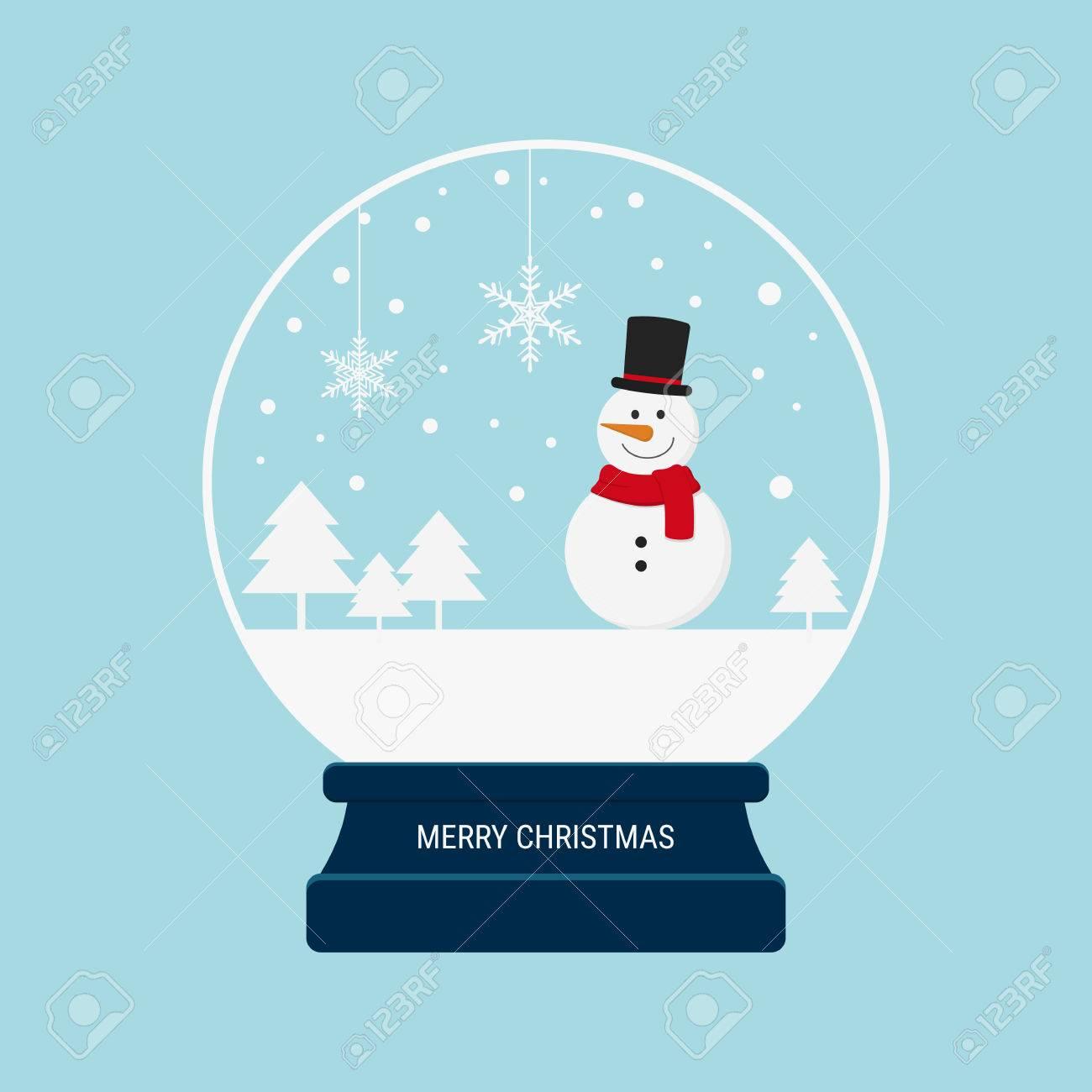 Merry christmas snow globe with snowman. Cartoon Vector Illustration. - 48359826