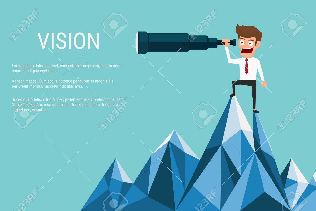Businessman stand on top of mountain using telescope looking for success, opportunities, future business trends. Vision concept. Cartoon Vector Illustration. - 48359907