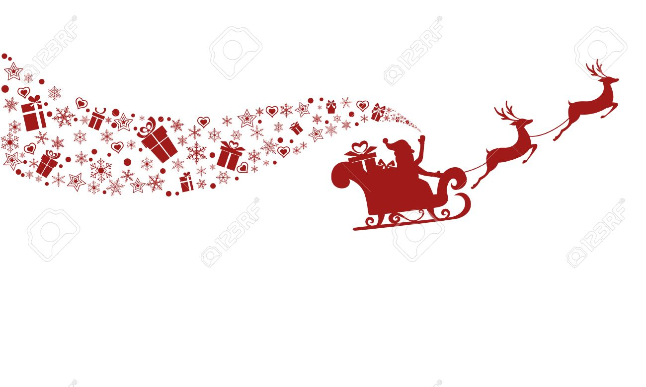 Red Silhouette. Santa claus flying with reindeer sleigh. Cartoon Vector Illustration. - 50087362
