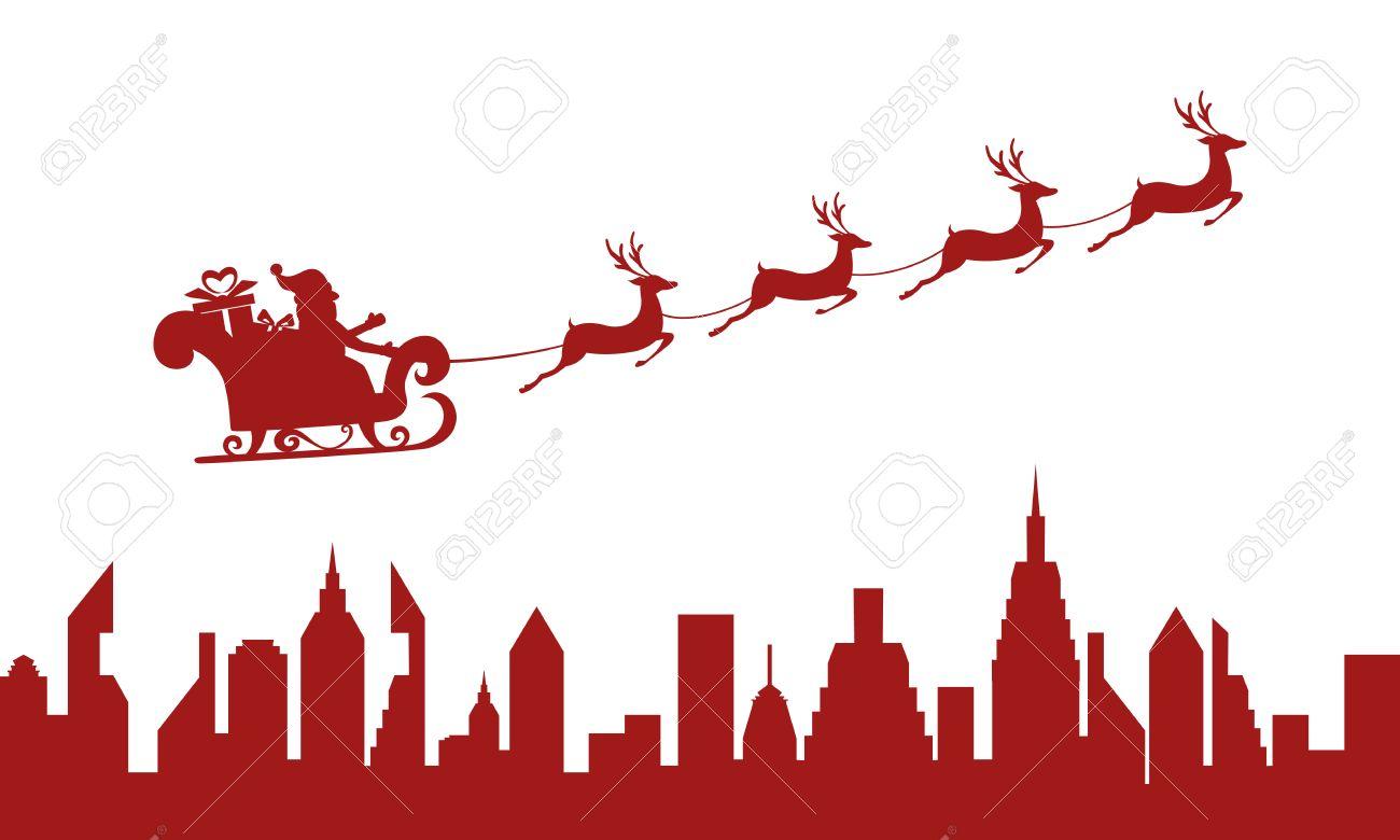 Slitta Babbo Natale Immagini.Rosso Sagoma Babbo Natale Che Volano Sopra Una Citta Con Le Renne Slitta Fumetto Illustrazione Vettoriale