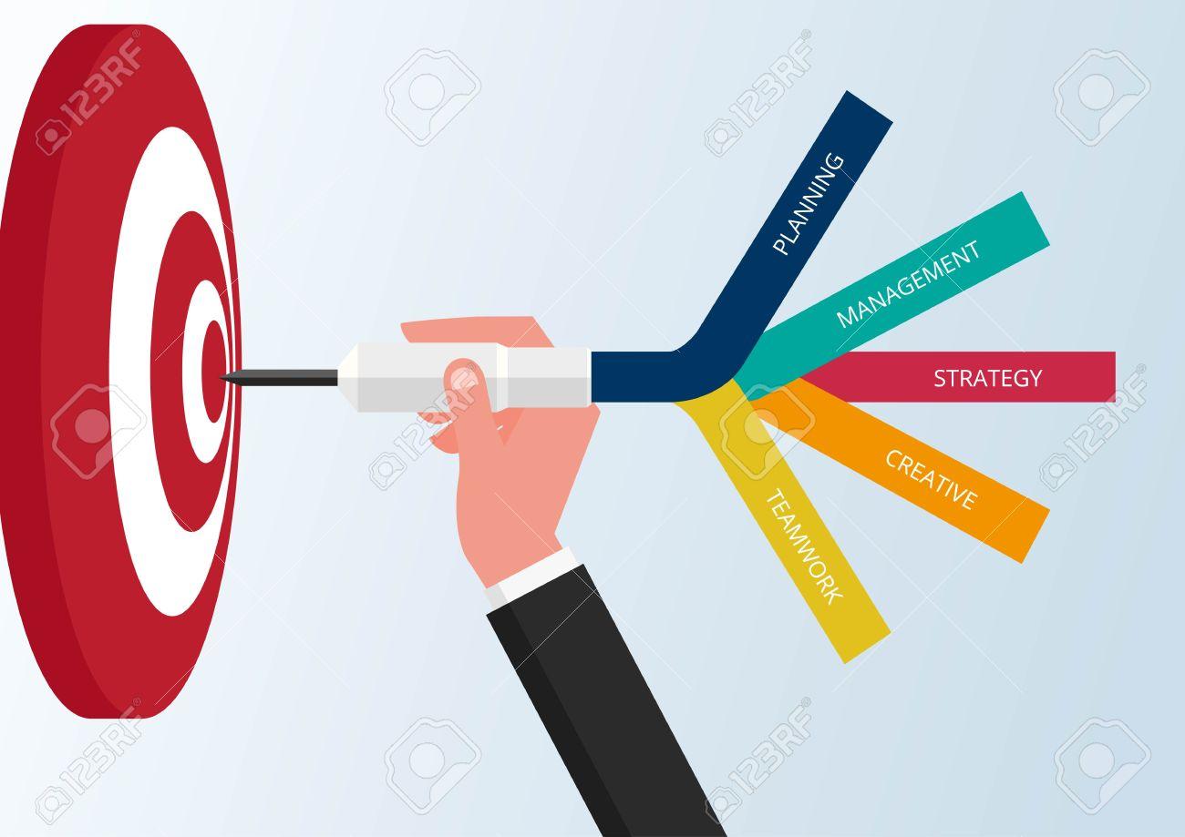 Goal setting. Smart goal. Business target concept. Hand holding dart to target. Vector Illustration. - 61073670