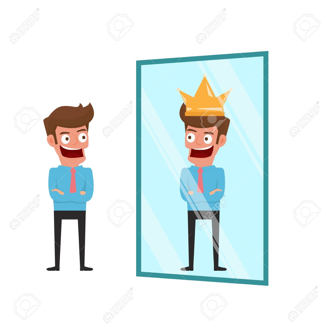 Businessman standing in front of mirror can see successful reflection. Business success concept. Cartoon Illustration. - 62241391