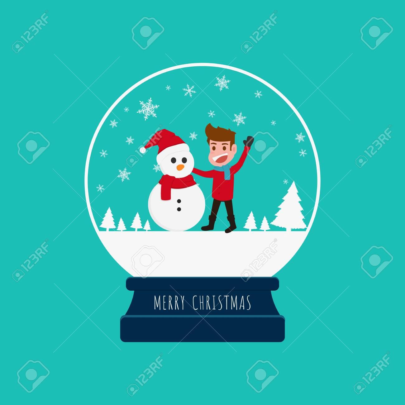 Merry Christmas Snow Globe With A Boy And Snowman Cartoon Vector Illustration Stock Vector