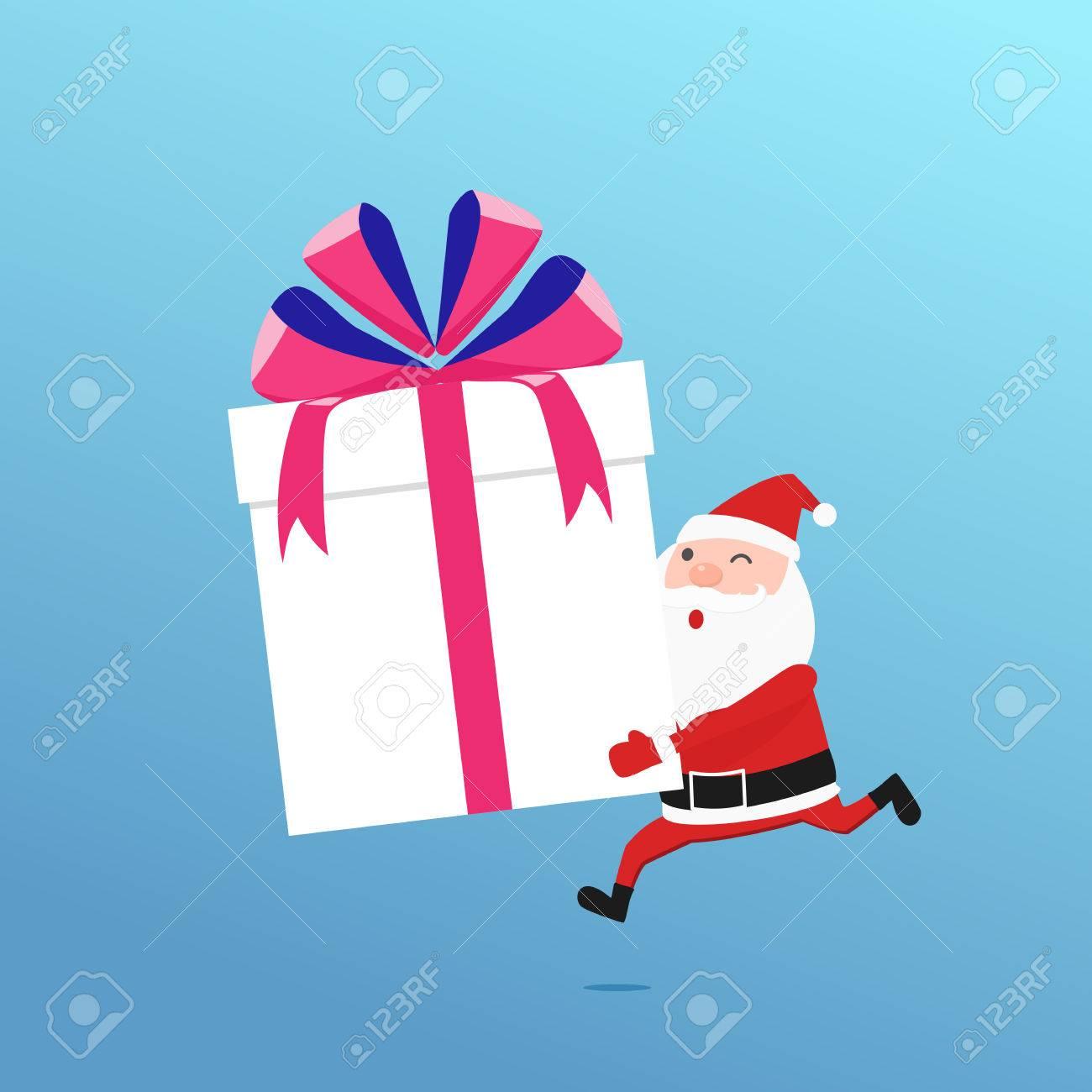 Fröhliche Weihnachten. Weihnachtsmann Hält Große Geschenk-Box ...