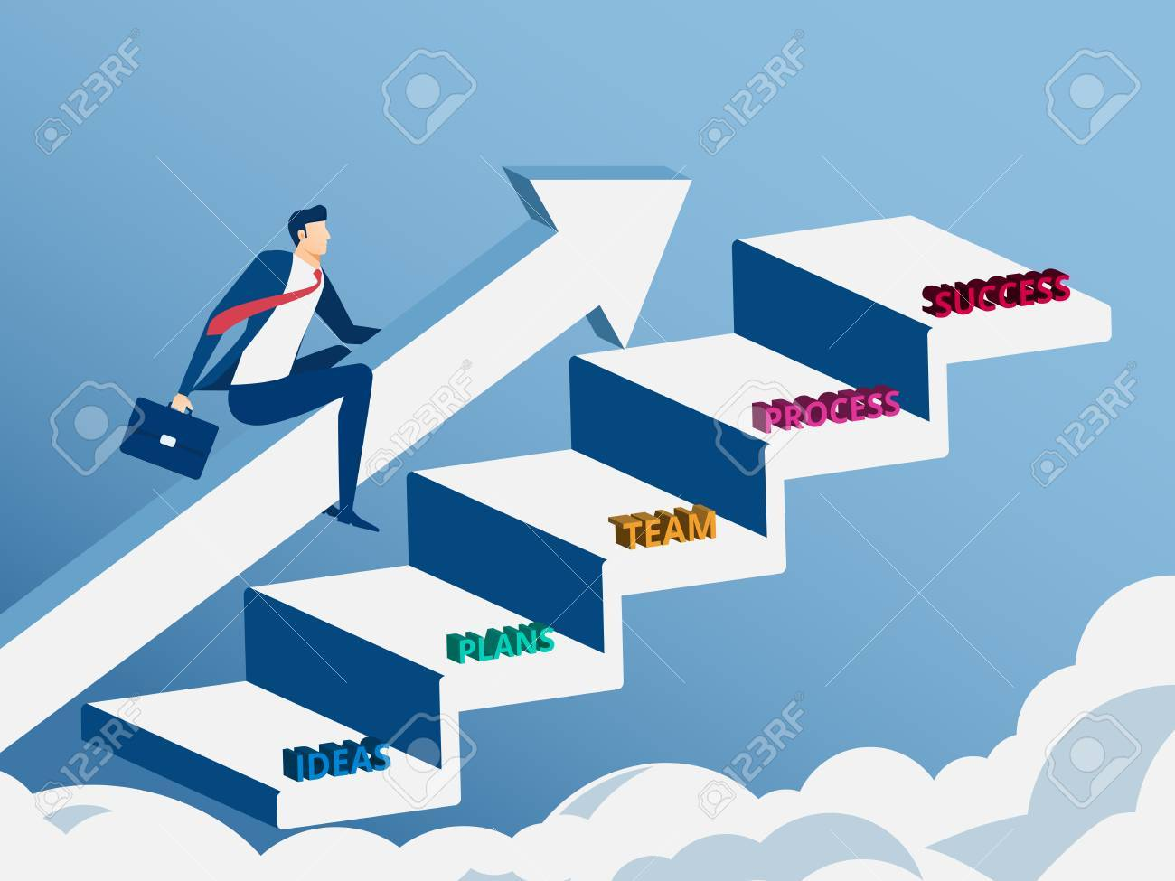 Businessman Riding Growth Arrow Graph On Stair Step To Success Royalty Free Cliparts Vectors And Stock Illustration Image 71429988
