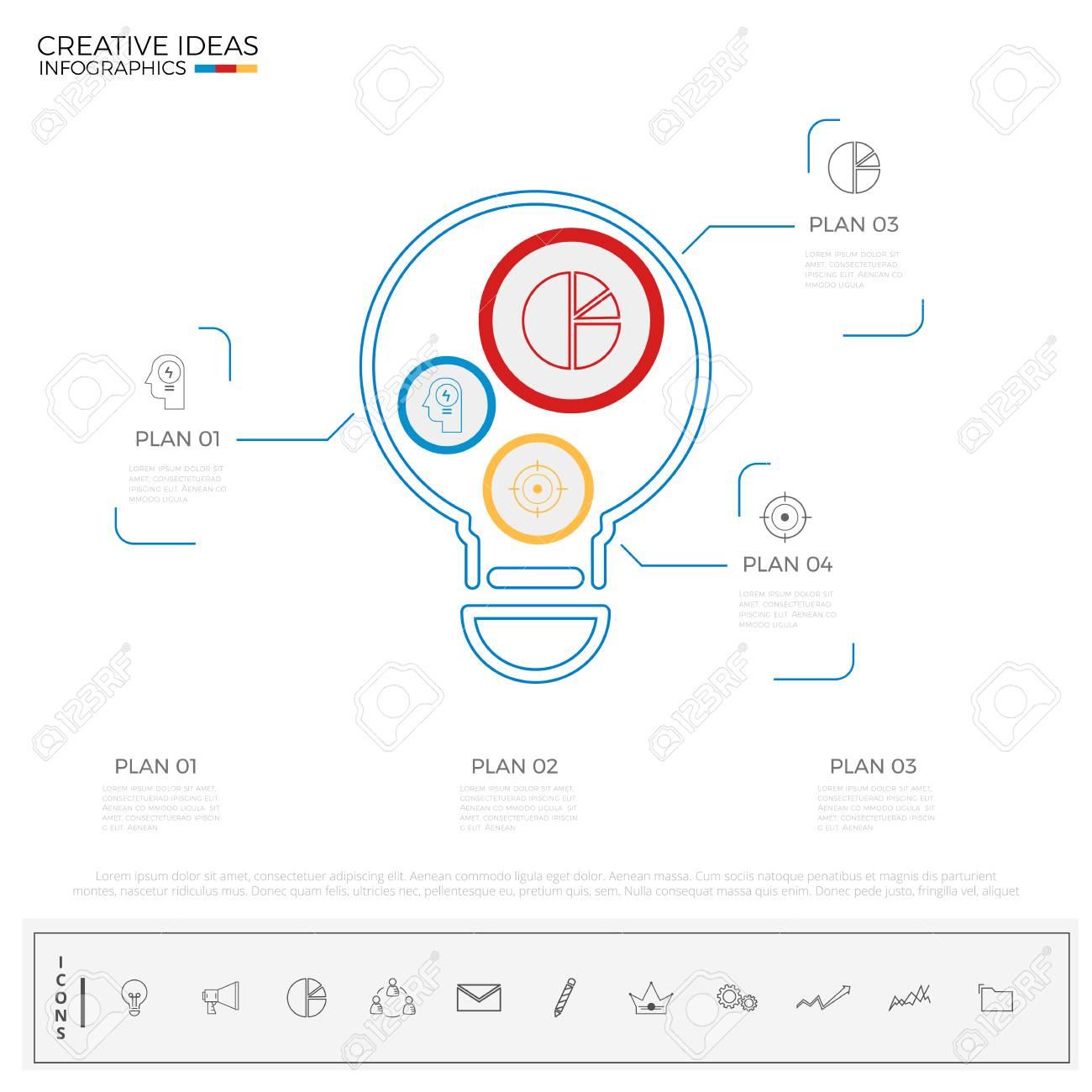 Plantilla De Bombilla Idea Infografía Con Iconos Y Elementos ...