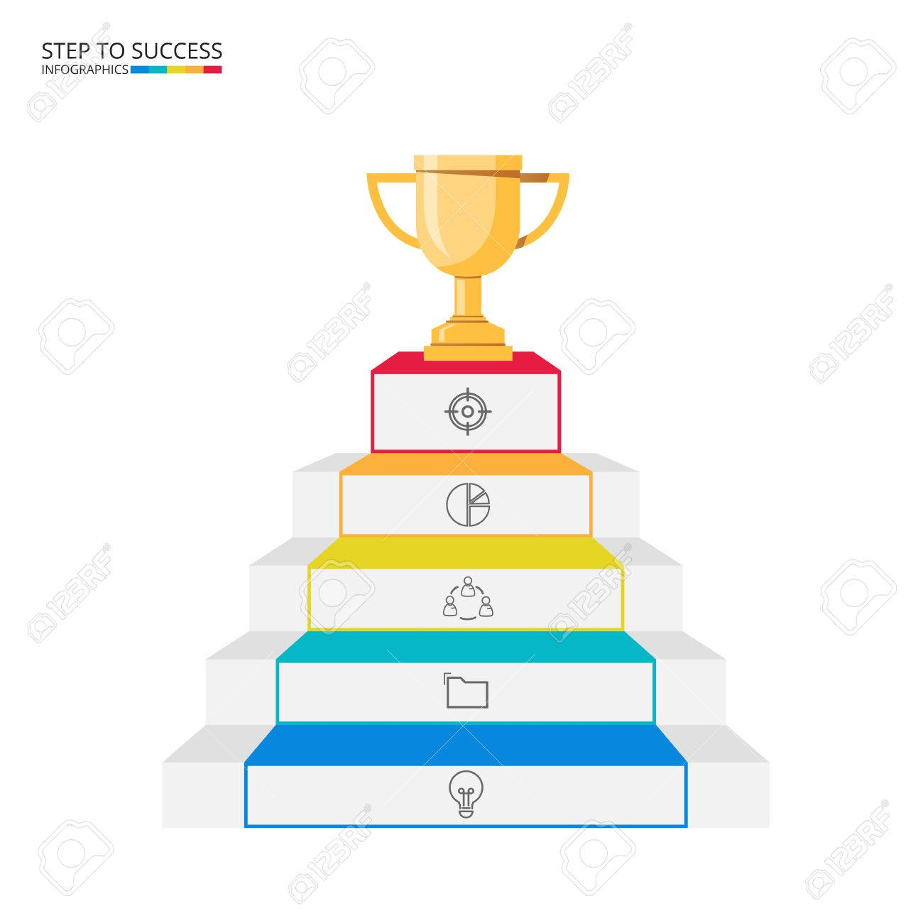 Stair Step To Trophy And Success Infographics Template With Icons ...