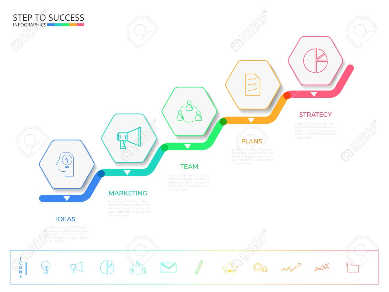 Stair step to success concept. Modern colorful business timeline hexagon infographics template with icons and elements. can be used for workflow layout, banner, diagram, number options, web design. Infographics Vector Illustration. - 75140143