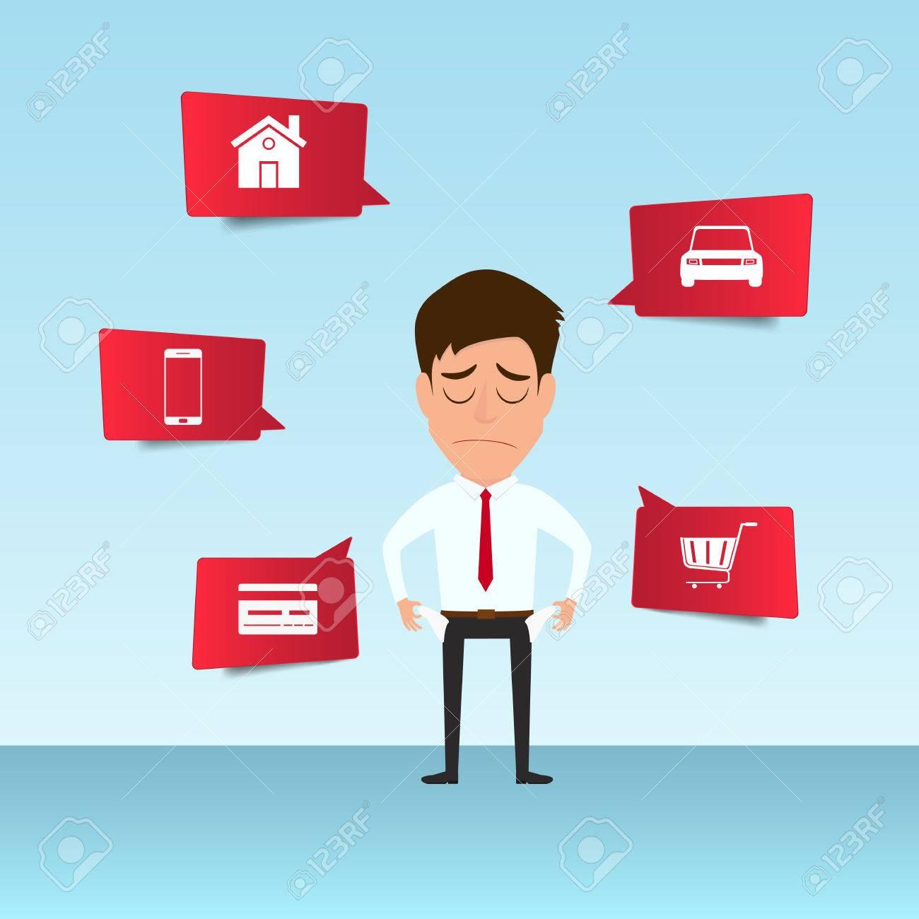 Empresario Muestra Su Bolsillo Vacío Siente Dolor De Cabeza Y ...