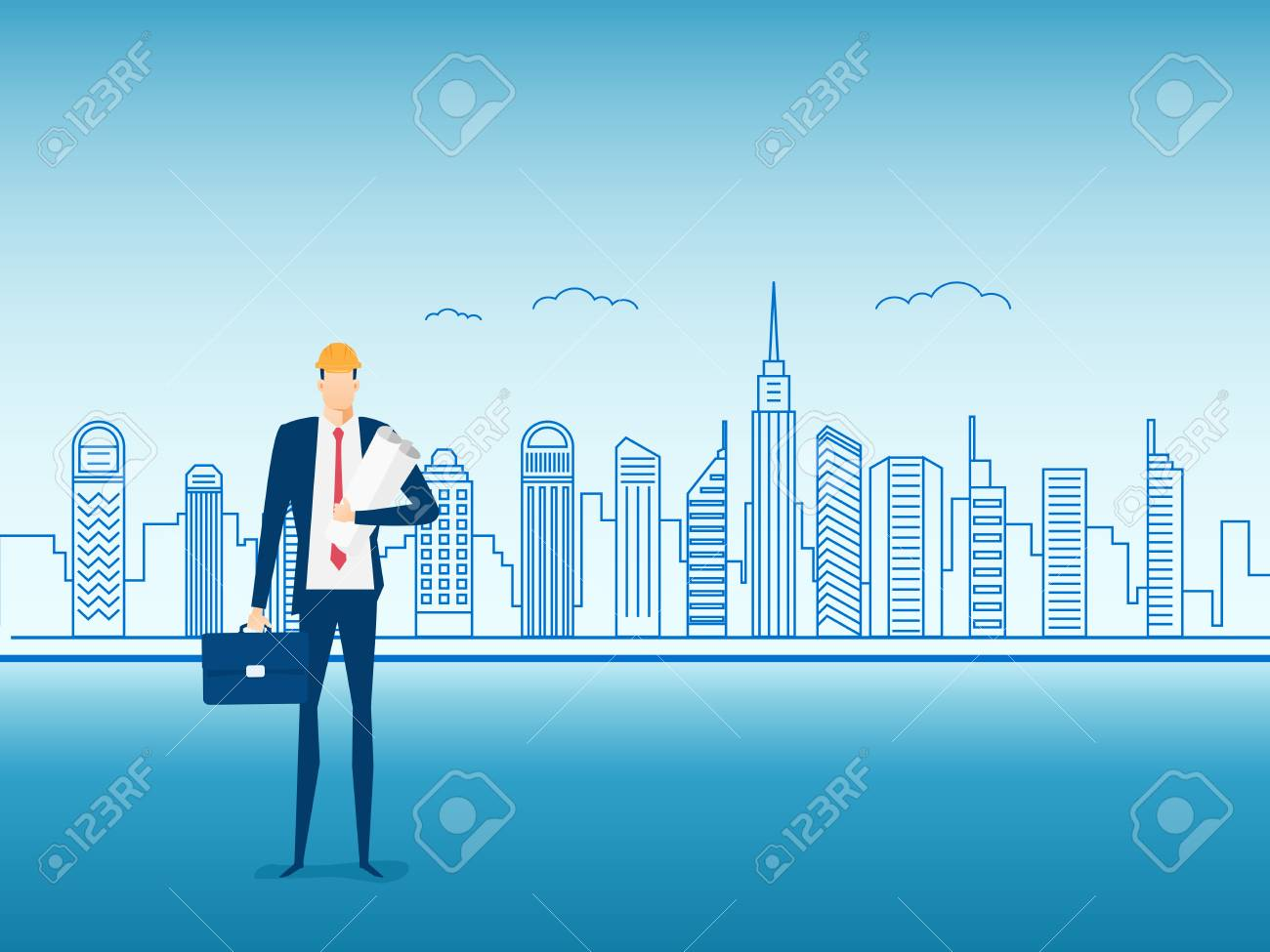 Engineer construction holding a blueprint paper on city screen engineer construction holding a blueprint paper on city screen character design cartoon vector illustration malvernweather Gallery