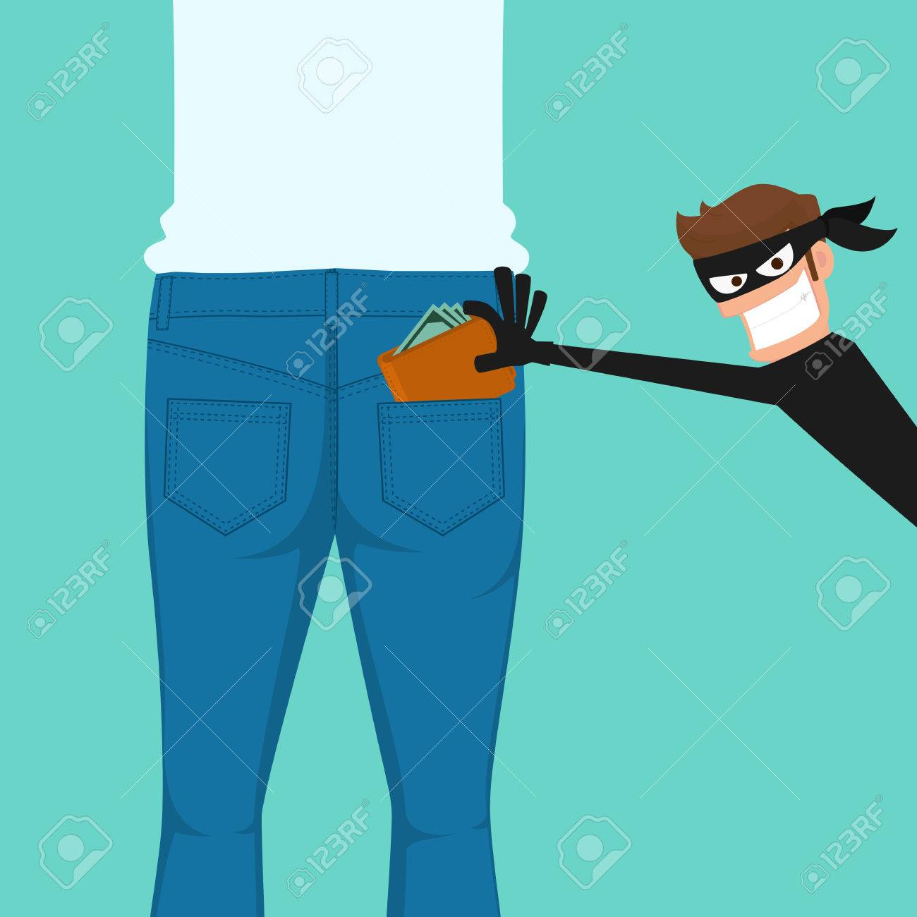 Pickpocket thief stealing a wallet from back jeans pocket, cartoon vector illustration. - 82686505