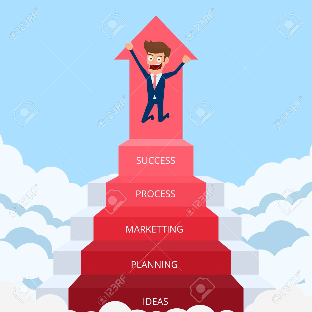 businessman going up to success staircase to success cartoon royalty free cliparts vectors and stock illustration image 85066692 123rf com