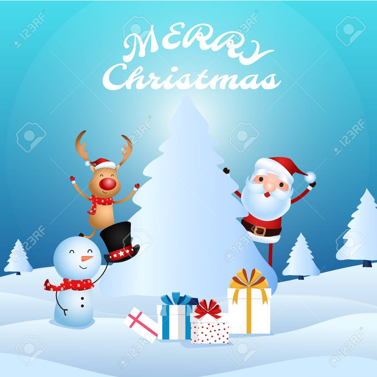 Joyeux Noel Audio.Joyeux Pere Noel Bonhomme De Neige Renne Sont Des Compagnons De Noel Cadeaux De Noel Dans La Scene De Neige Joyeux Noel Et Bonne Annee