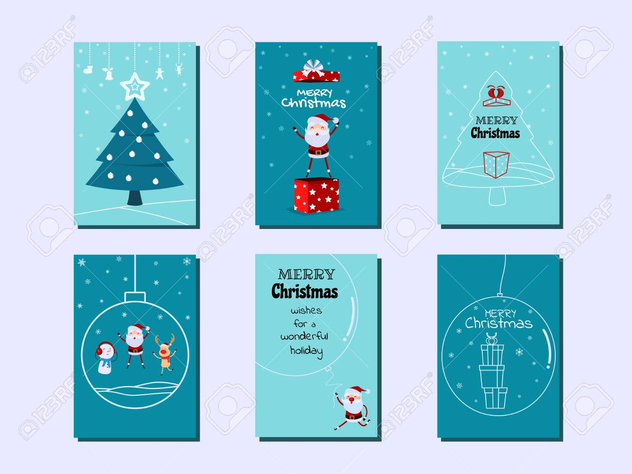 Collection Of Merry Christmas Greeting Cards And Invitations ...
