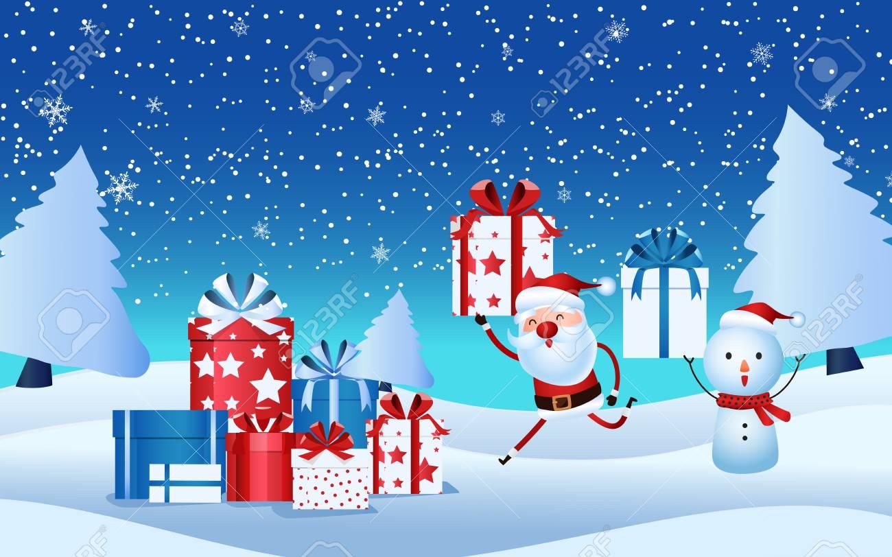 Netter Weihnachtsmann, Schneemann, Der Geschenkbox Hält ...