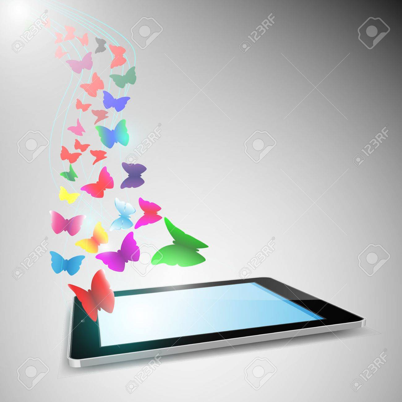 butterfly flying out from tablet computer.EPS10 Stock Vector - 19686500
