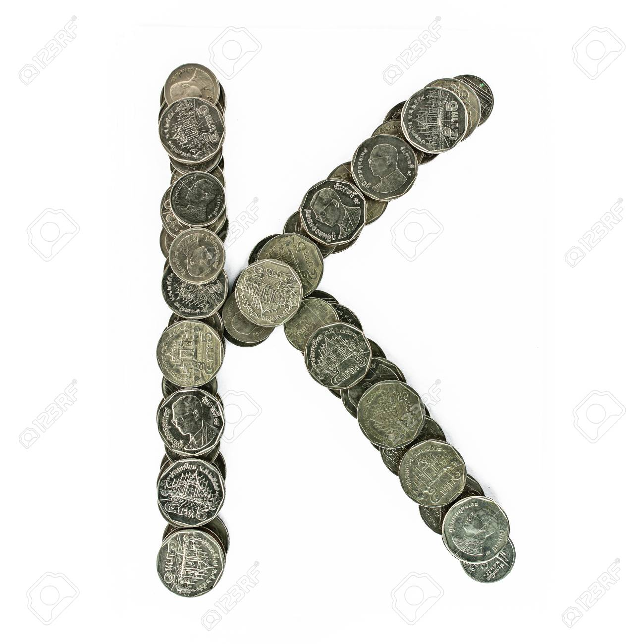 Astonishing Myport Ideas Of Alphabet From The Thai Coins. Isolated On