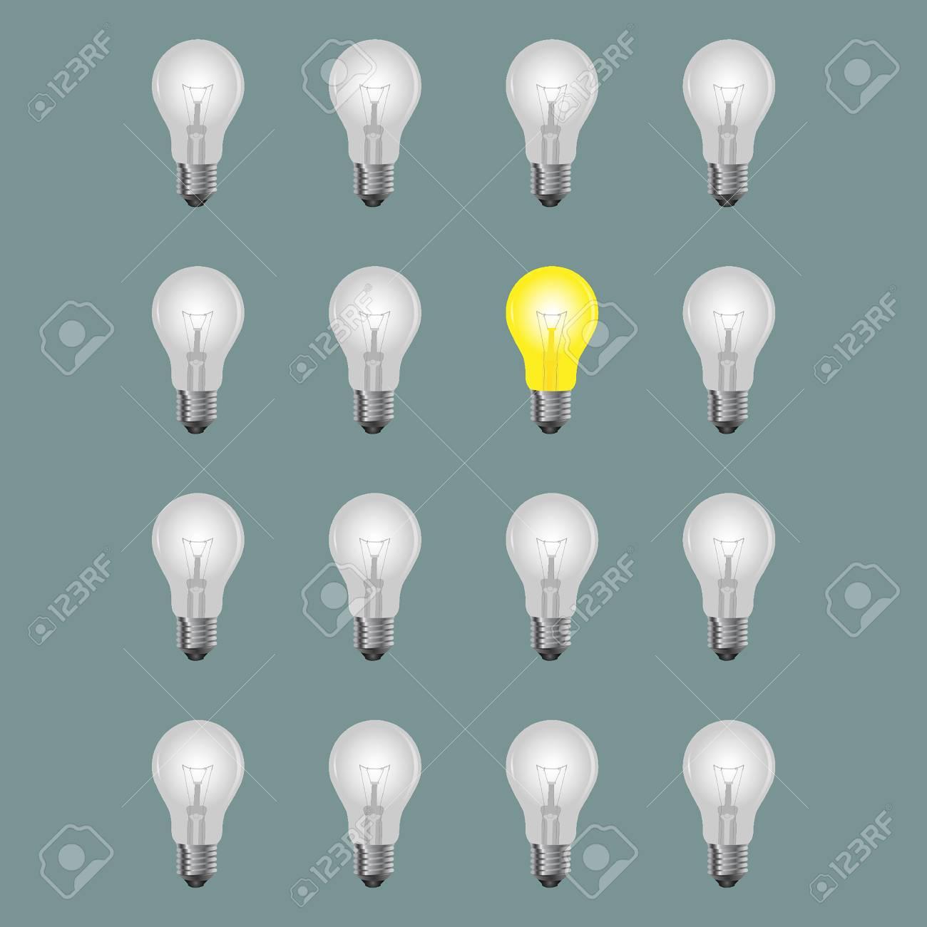 Light Bulbs With One Bright Bulb Stock Vector