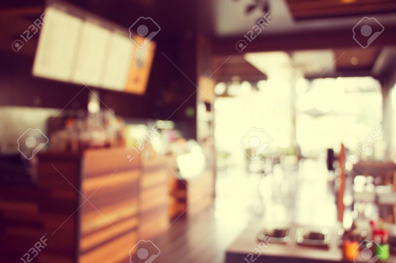 Blurry Of Coffee Shop Interior Design Vintage Process Tone Stock