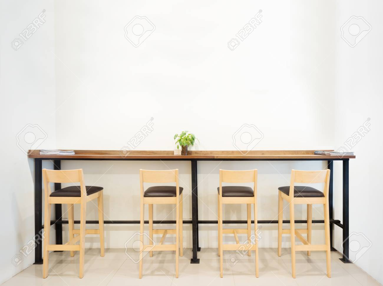 Counter In Cafe Bar With White Wall Empty Space Stock Photo Picture And Royalty Free Image Image 66304801