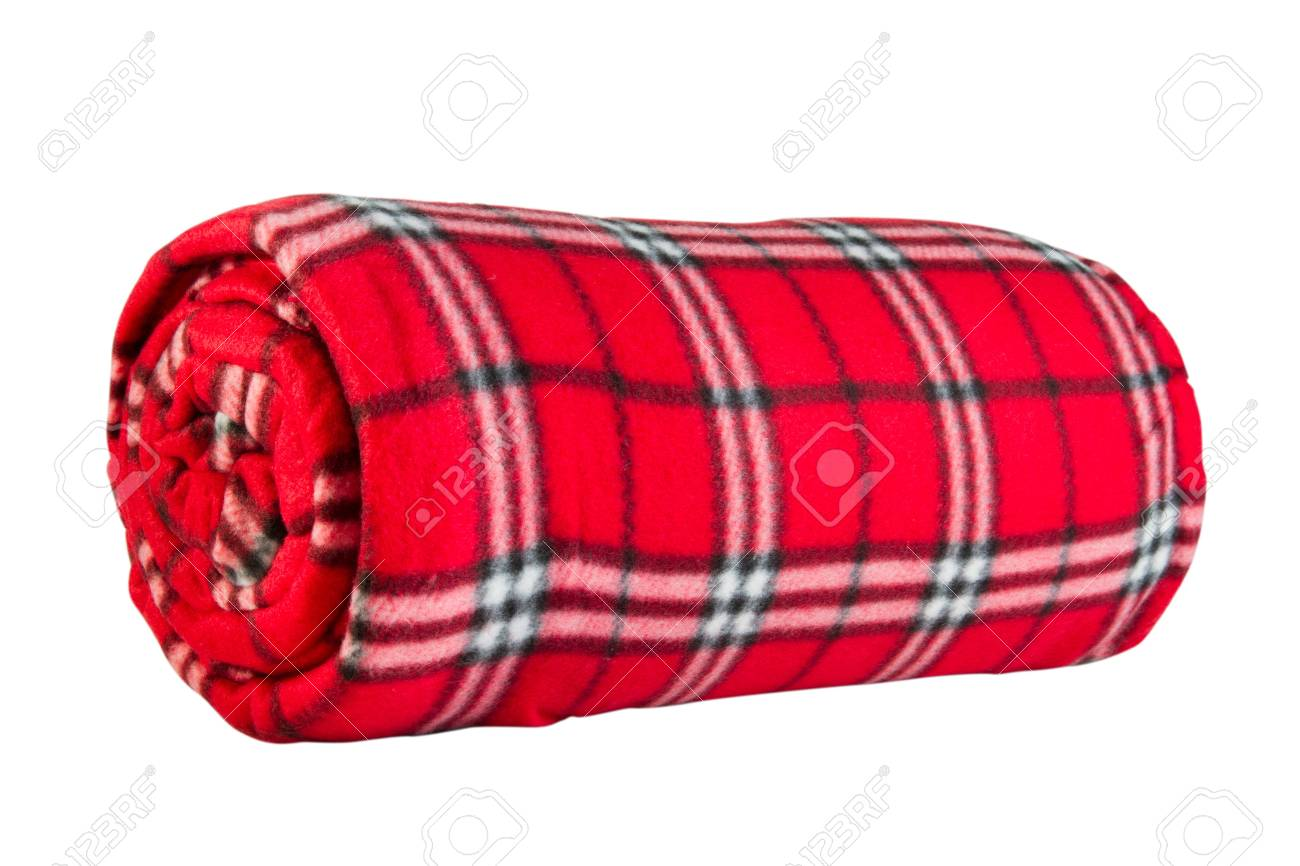 Rode Fleece Deken.Rode Fleece Deken In De Kooi Geisoleerd