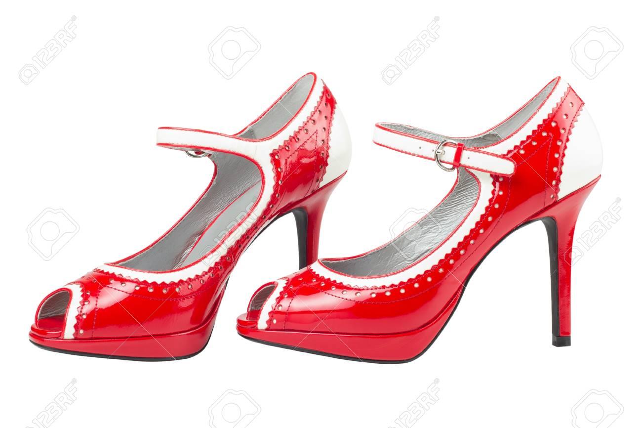 De En Aislado Fotos Zapatos Mujer Tacón Alto Blanco Rojos v7qTwdF