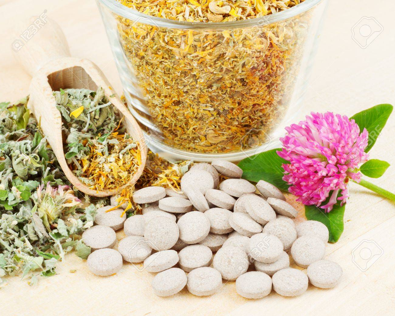 healing herb in glass cup, tablets, herbal medicine Stock Photo - 14118670