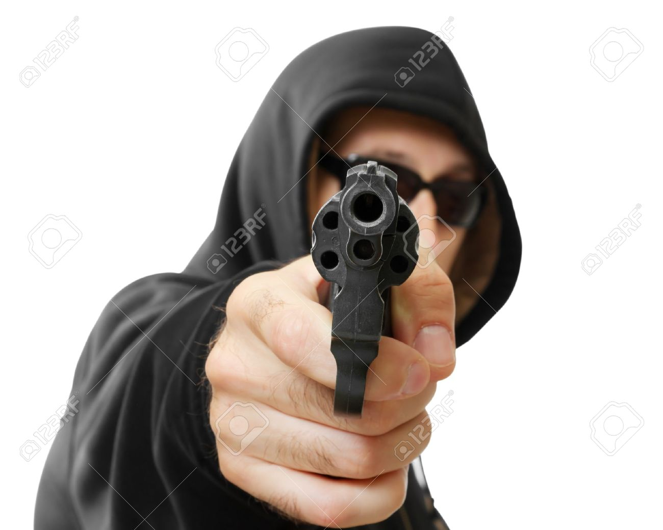 man  shoots a gun, gangster, focus on the gun, isolated on white Stock Photo - 16672034