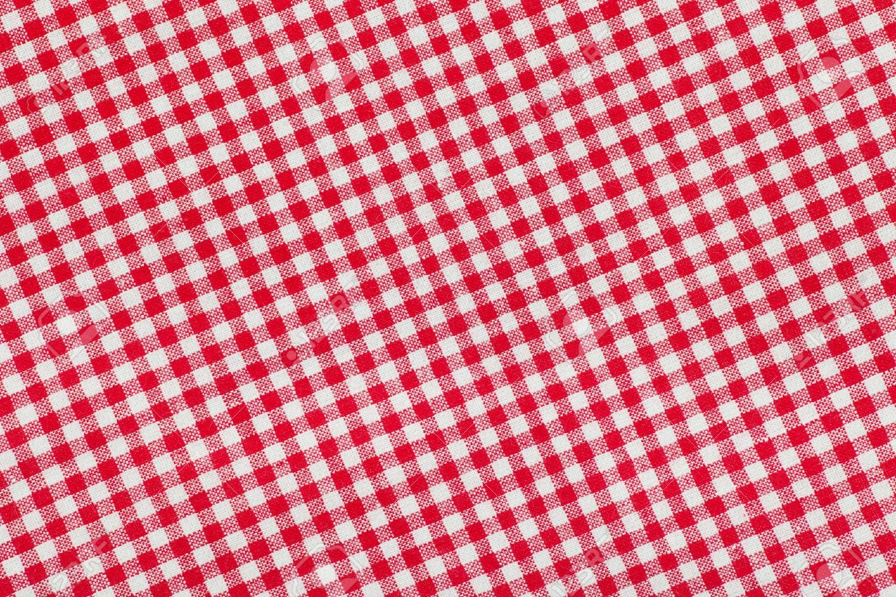 Red And White Checkered Picnic Tablecloth Background, Texture Stock Photo    17534534