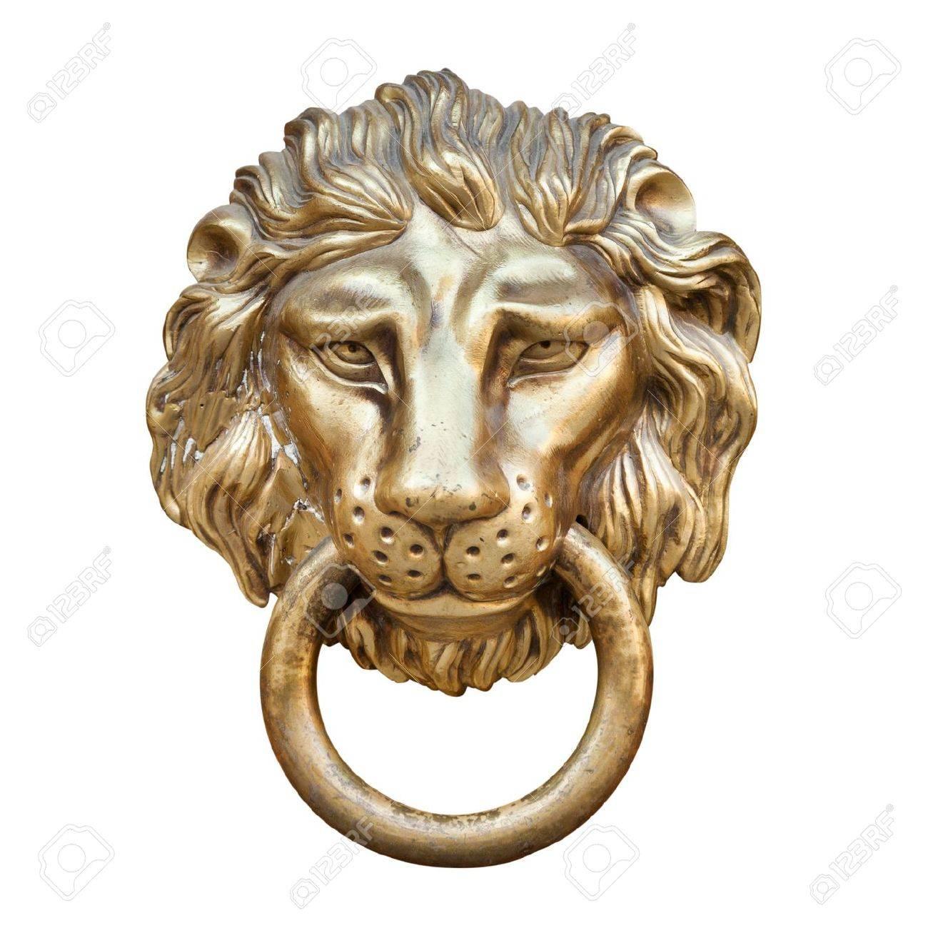 Lion Head, Door Knocker, Isolated On White Stock Photo   21064847