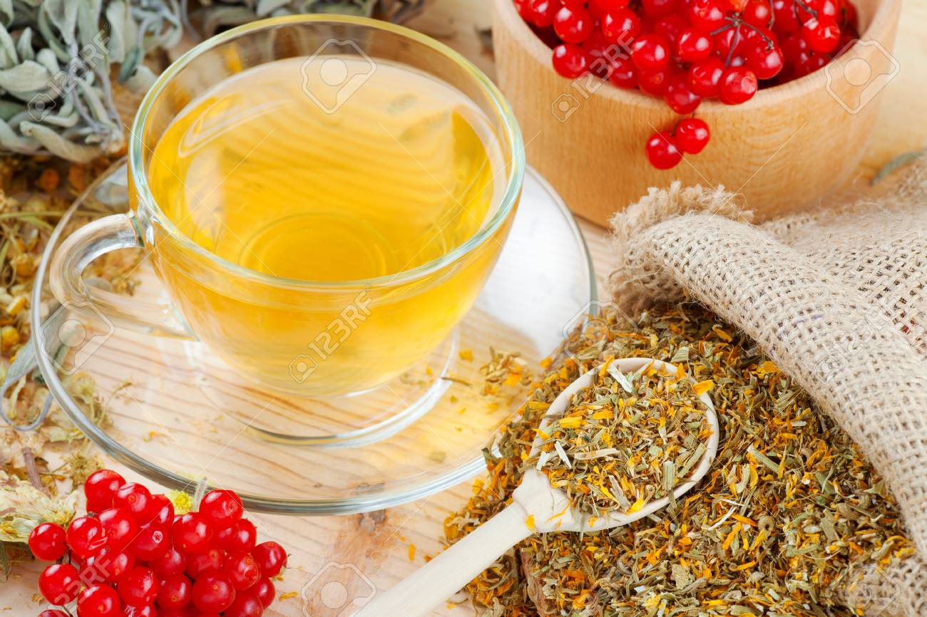 cup of herbal tea, medicinal herbs and healthy berries on table Stock Photo - 24089572