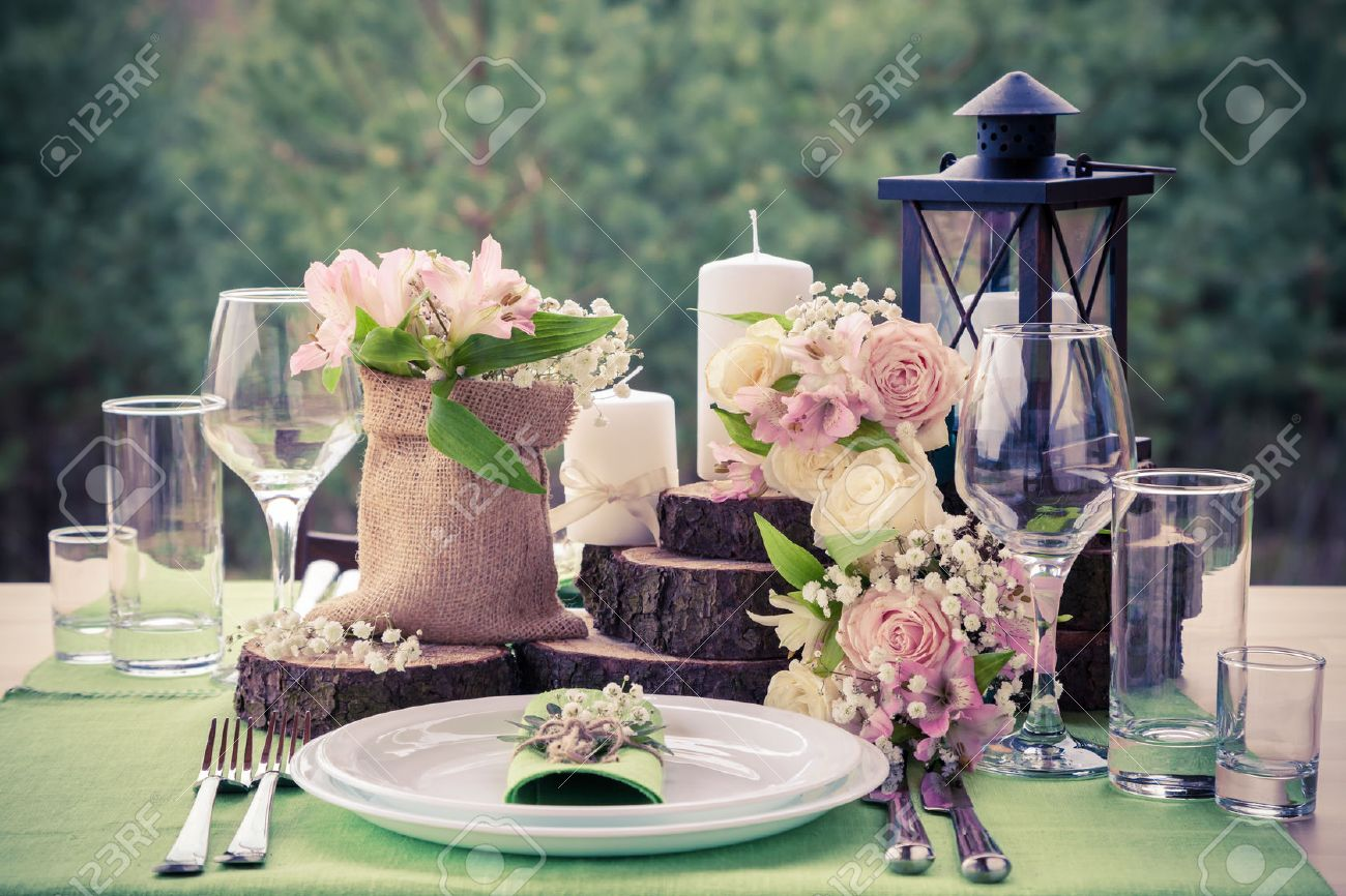 Wedding table setting in rustic style. Stock Photo - 40147823
