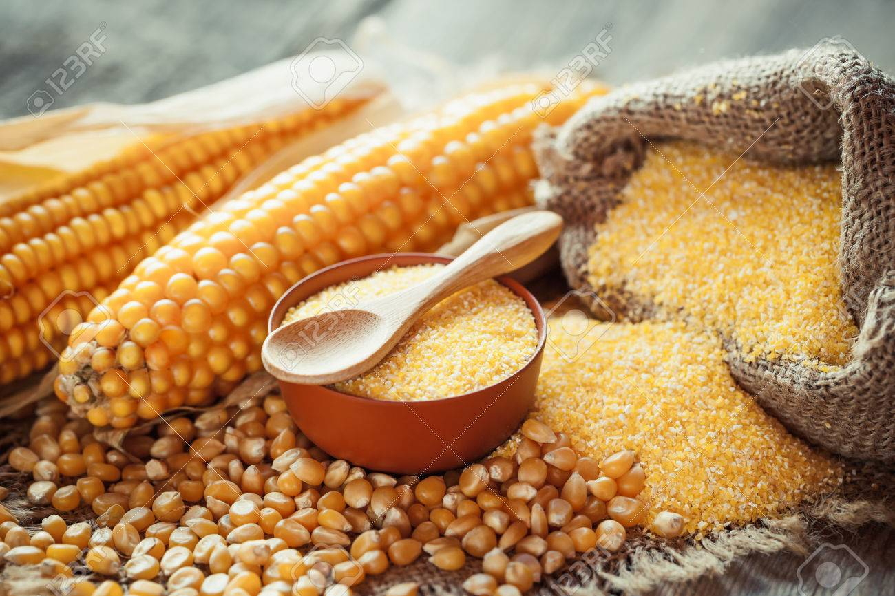Corn groats and dry seeds, corncobs on wooden rustic table. Selective focus - 48257208