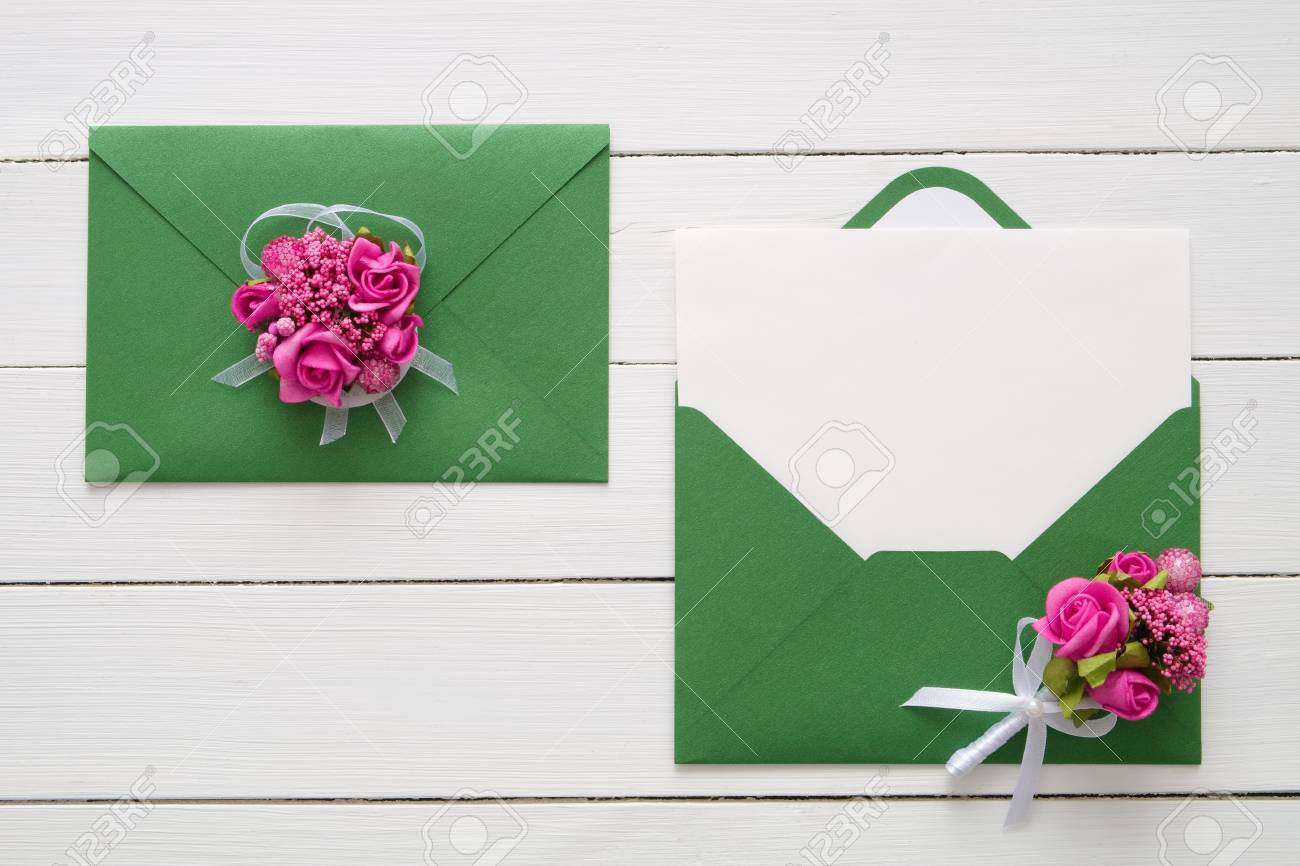 wedding invitation cards or valentines day letters in green