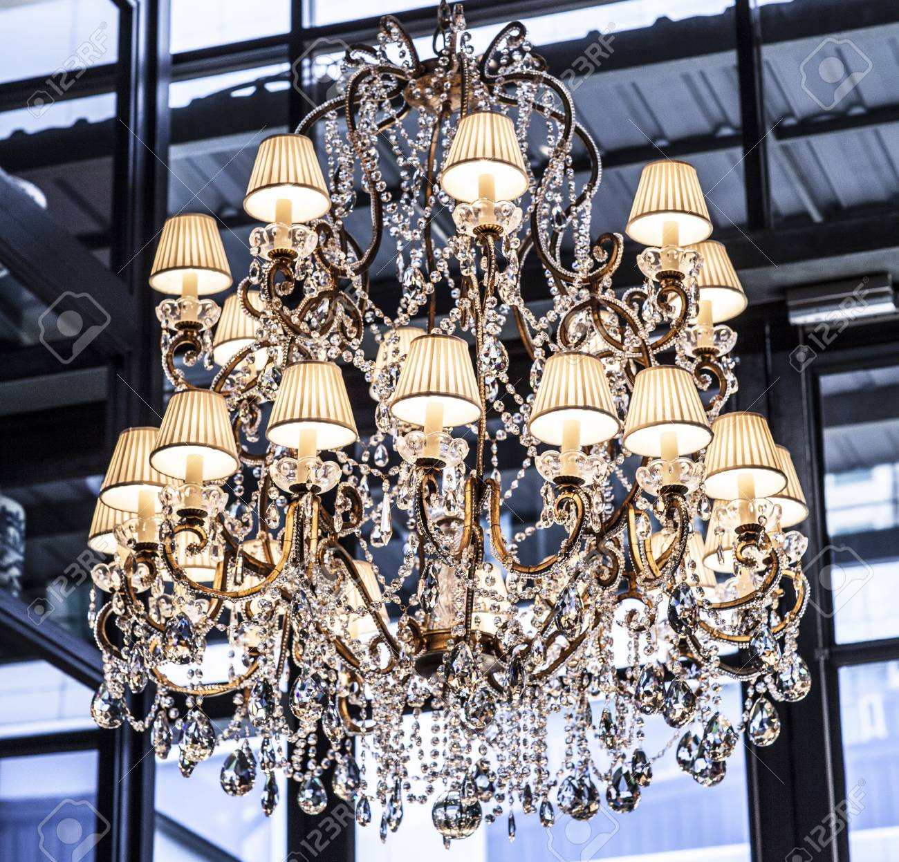 close-up of a beautiful crystal chandelier Stock Photo - 18808557