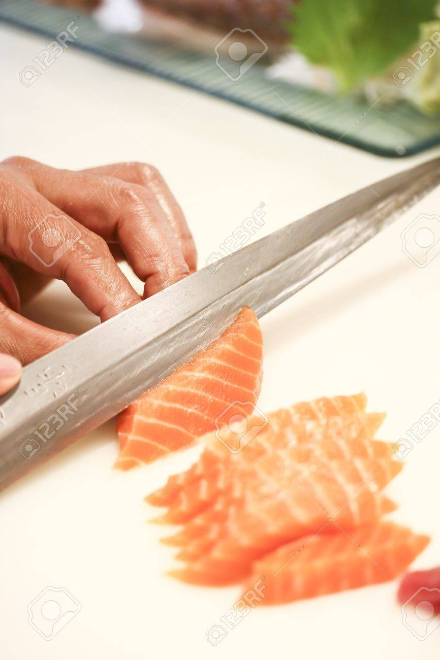 salmon fillet with knife Stock Photo - 19455166