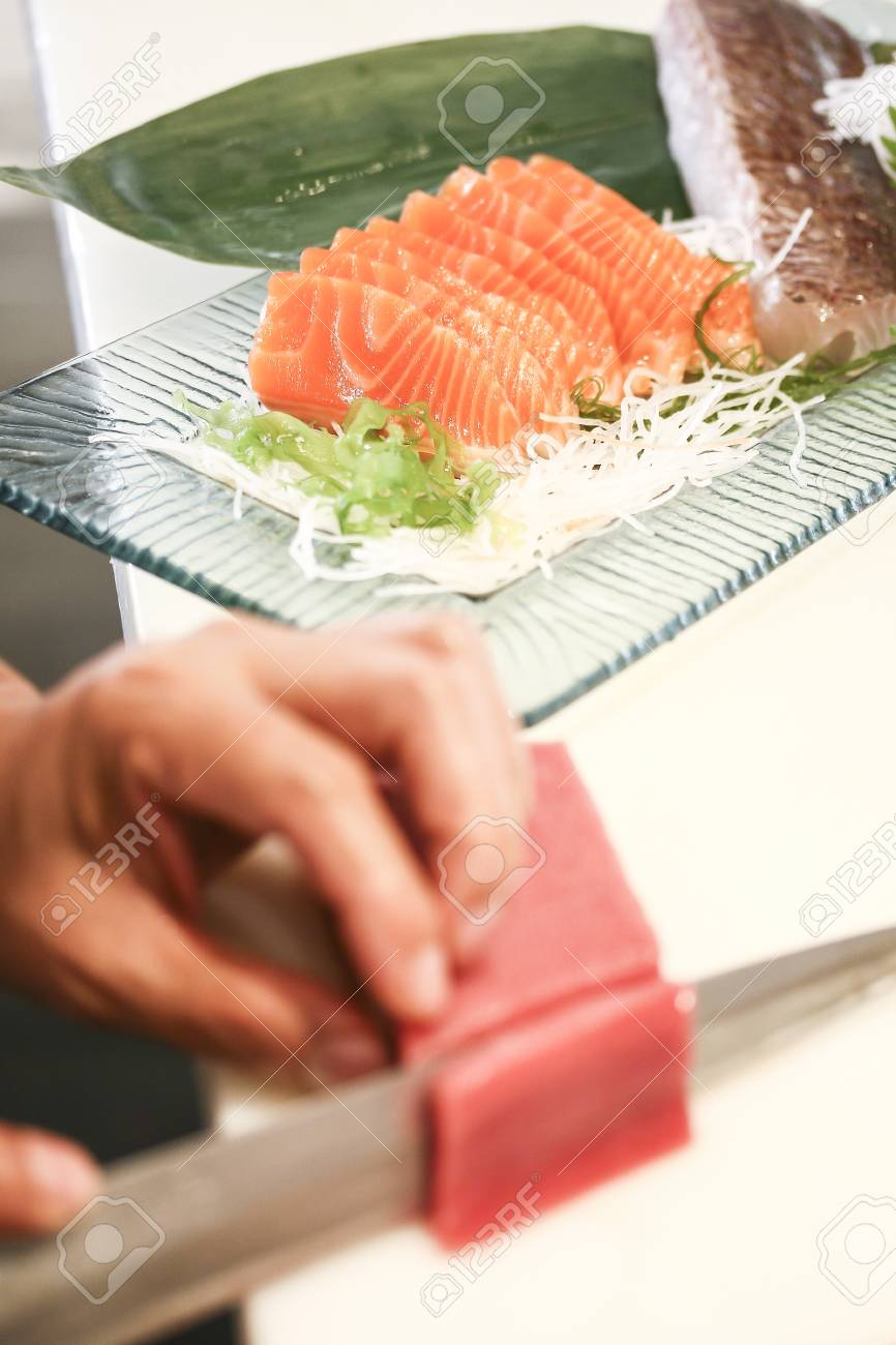 salmon fillet with knife Stock Photo - 19455248