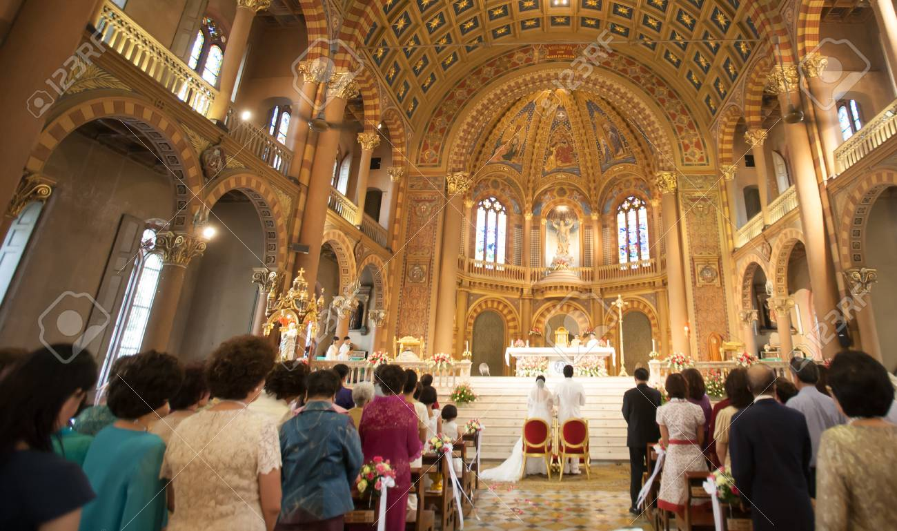Church Cathedral wedding interior with rows of elegant - 56844640